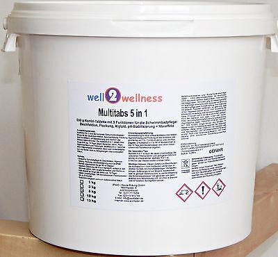 Chlortabletten Chlor Multitabs 5 in 1, 200 g im 5,0 kg Eimer mit 93% Aktivchlor