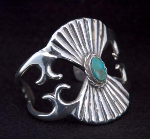 Vintage Navajo Bracelet Sterling Silver Old Pawn Turquoise Sand Cast Heavy 76.5g