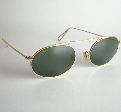 Vintage Ray Ban USA B&L OVAL BRACE AVIATOR Sunglasses gold gatsby john lennon