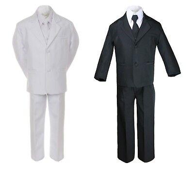 5pc Boy Toddler Kid Teen Wedding Black or White Formal Tuxedo Suit Set S-20 ()