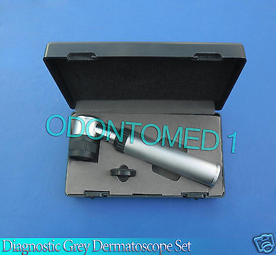 NEW DERMATOLOGY SKIN DIAGNOSTIC GREY DERMATOSCOPE SET DERMAL INSTRUMENTS,DR-001