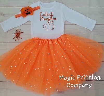 Baby Girls Pumpkin outfit Costume 1st Halloween Tutu Gift Bodysuit VEST Top UK](Baby Pumpkin Outfit)