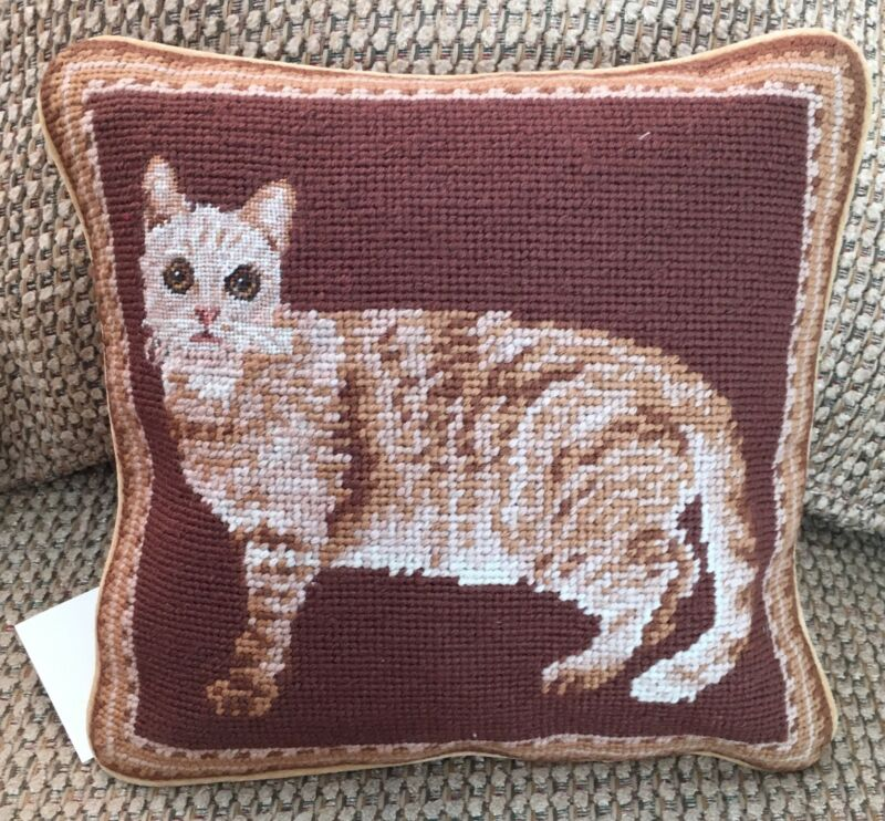 New Cat Design 100% Wool Petite Needlepoint Handmade Pillow 10""