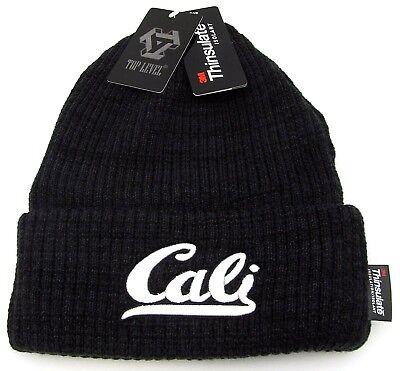 CALI Cuff Beanie Skull Cap California Winter Hat Fleece Lining Adult OSFM NWT