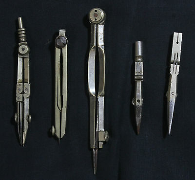 OLD VINTAGE DRAFTING STEEL COMPASS TOOL DIVIDER INSTRUMENTS 5Pc COLLECTIBLE