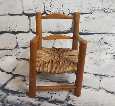 Vintage Small Antic Ladder Brown Chair Woven Seat Horrible Condition Model Chair