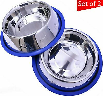 Mr. Peanut's Set of 2 Etched Stainless Steel Dog Bowls, Silicone Base, 32oz Each