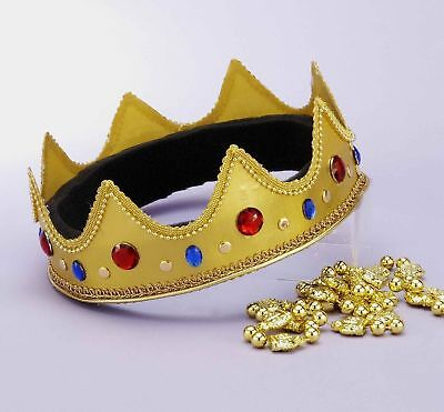 Mardi Gras Royal Crown King Queen Wisemen Adult Costume Accessory Gems Adjustabl