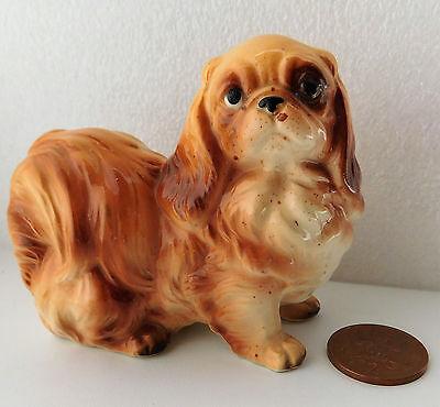 "Vintage Pekinese dog ornament china figurine marked FOREIGN 4"" long pet animal"
