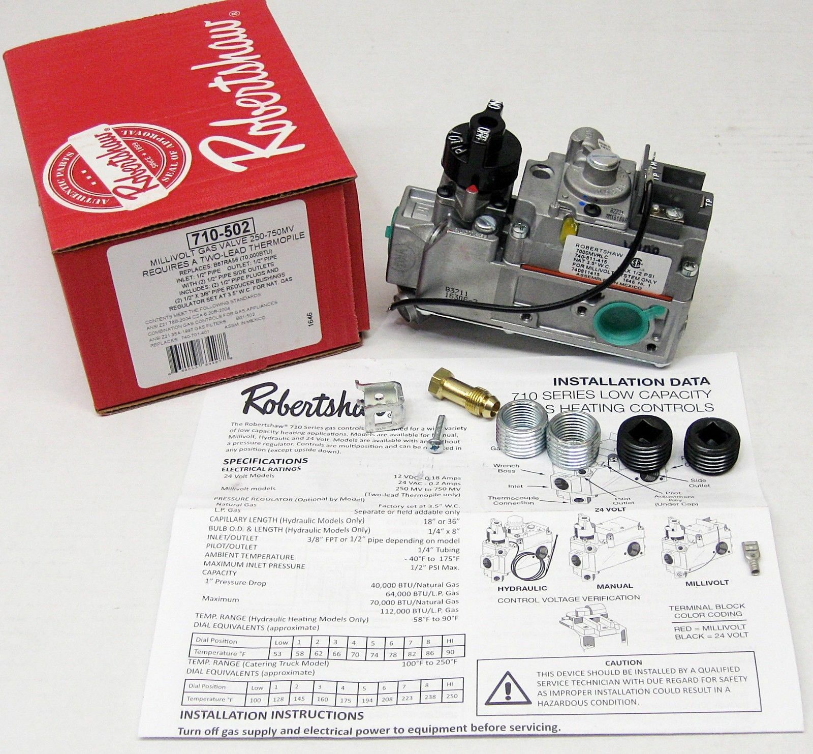 ROBERTSHAW 710-502 Gas Valve, Standard Opening, 70, 000 BtuH