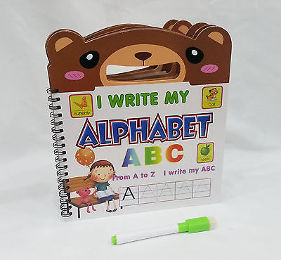 ABC ALPHABET FIRST LEARNING LEARN BOOK PRE SCHOOL WIPE CLEAN CLEAR HANDLE PEN