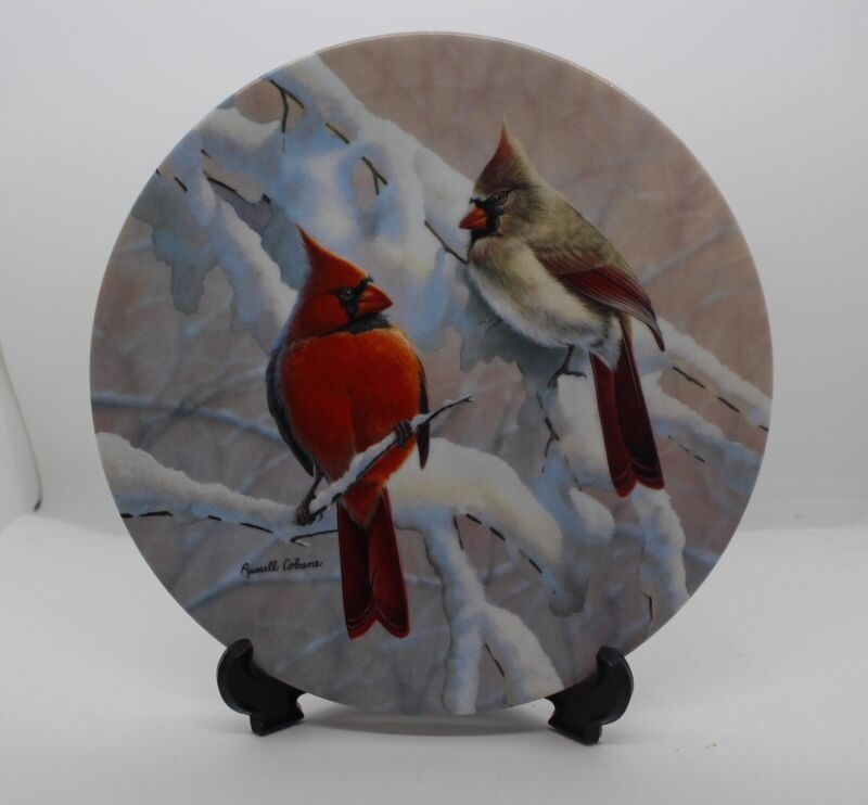 Cardinals on a Snowy Branch Collector Plate #1 in Glorious Songbirds COA Cobane