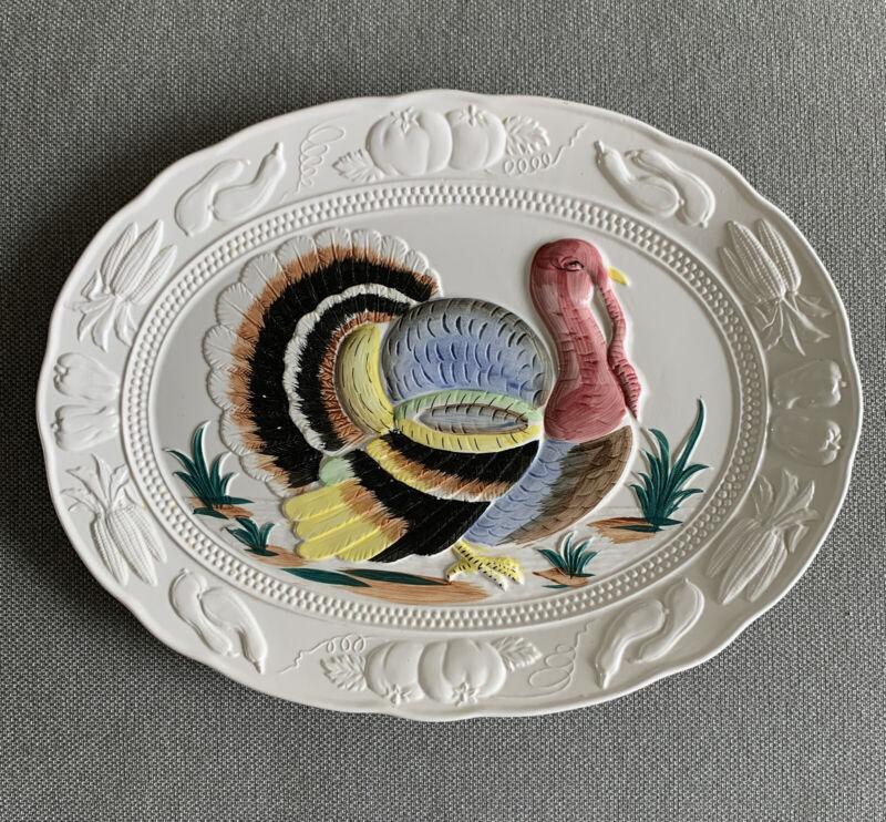 "Vintage Thanksgiving Turkey Platter Large 18.75"" Embossed Hand painted Japan"
