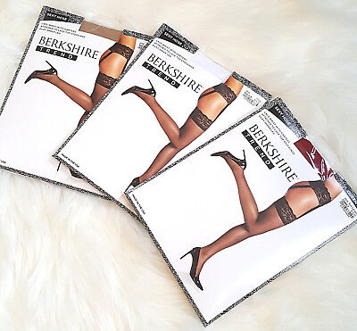 BERKSHIRE LaceTop THIGH HIGHS w LACE WAIST & GARTERS  A/B - Q-2 NUDE WHITE & RED (Red Thigh Highs)