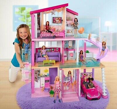 NEW Barbie Dreamhouse FHY73 DollHouse Playset 70+ Accessory Pieces Pool Slide