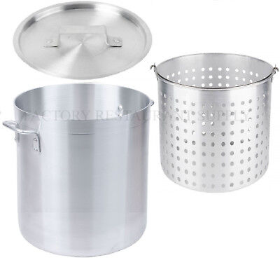 60 Qt 4mm Aluminum Stock Pot Commercial Lid Steamer Basket Soup Deep Fryer Fish
