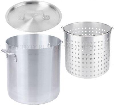 60 Qt 4mm Aluminum Stock Pot Commercial Lid Steamer Basket Soup Deep Fryer Fish