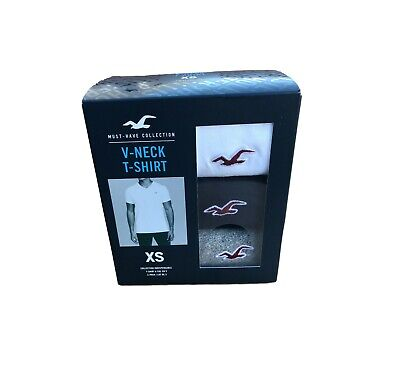 Hollister By Abercrombie pack of 3 Must-Have V-Neck T-Shirt All Sizes All Sizes