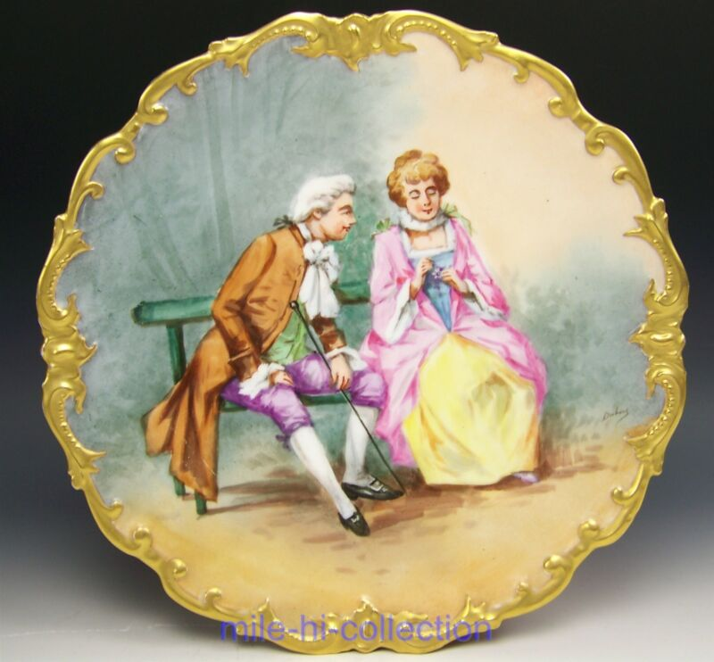 LIMOGES HAND PAINTED COURTSHIP SCENE OF COUPLE CHARGER PLAQUE ARTIST DUBOIS