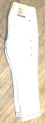 Tommy Hilfiger Womens Jeans White Crop Denim Pants Fitted Flag Logo New Nwt