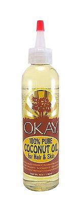 Okay 100  Pure Coconut Oil For Hair   Skin  4 Oz