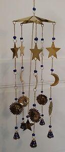 Indigo Mobile Windspiel Klangspiel Glocken Blau Dekoration (Sonne Mond Sterne)
