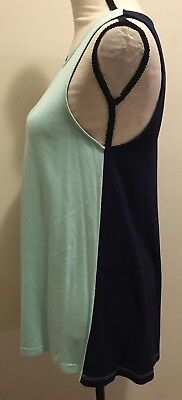 C Wonder By Tory Burch Small Sleeveless Blouse TankTop. Blue Two Toned New⭐️