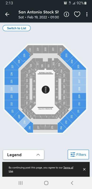 San Antonio Rodeo 2/19/22 Tim McGraw 1pm. Sec 208 Row 21 2 Tickets Aisle $140