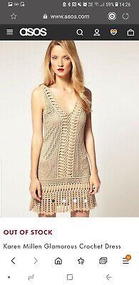 Ladies Karen millen Tan beige Crochet summer Dress Size 1 Uk 8 / 10