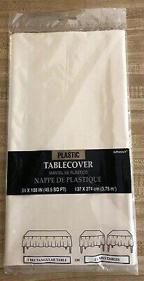 Amscan Plastic White Table Cloth 108 x 54 - Amscan Tablecloths