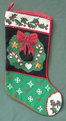 "CHRISTMAS STOCKING WOOL by NEEDLEPOINT BY HAND 20"" Wreath Holly Berry Snowflakes"