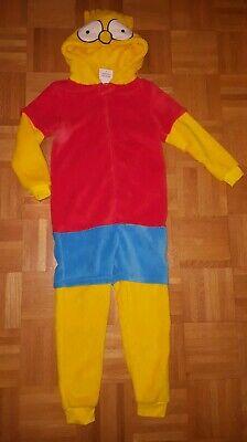 Bart Simpson Einteiler Schlafanzug Jumpsuit Fasching Halloween Kostüm NEU Gr.134 ()