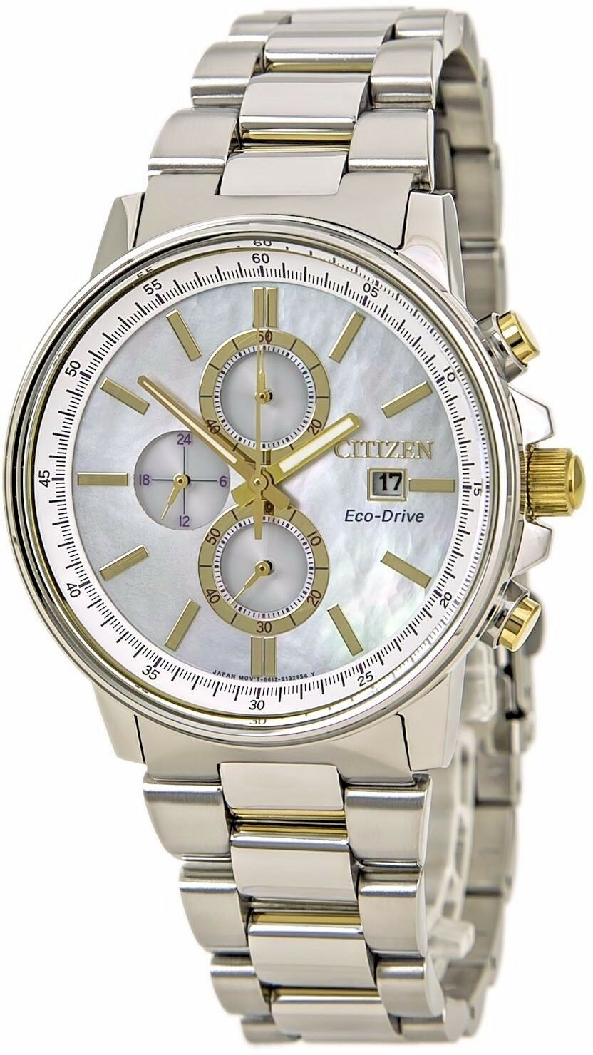 7b2495925c5 Details about Citizen Eco-Drive Women s FB3004-58 Chronograph Mother of  Pearl Dial 42mm Watch