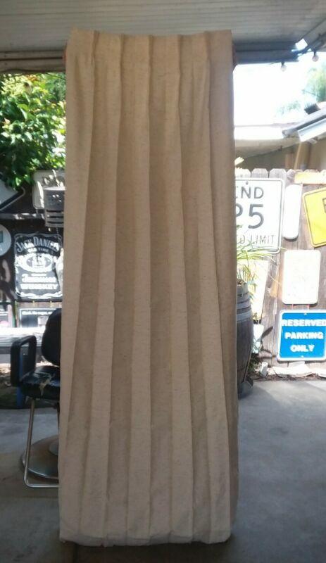 Pair Vintage Mid Century Pinch Pleat Drapes, Curtains - JC Penney, 25 X 84 Cream