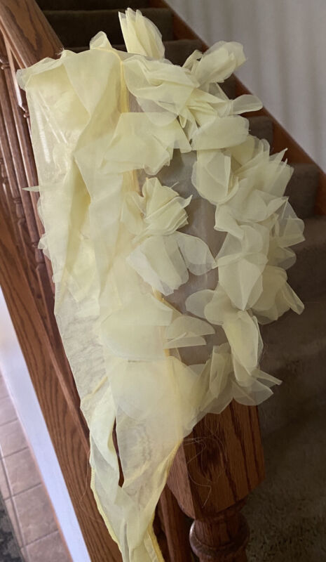 Vintage Bouffant With Petals Wind Scarf Sheer 1970s