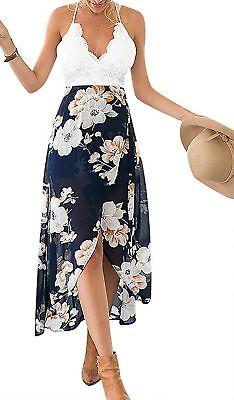 Floral Chiffon Womens Crocheted Lined Halter Hi Low Summer Beach Dress