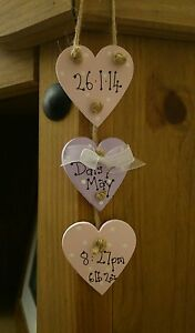 shabby chic personalised baby girl small plaque keepsake gift