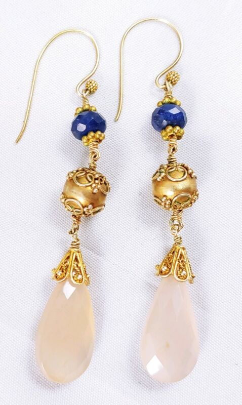 Vintage Etruscan Gold Over Sterling Silver Tanzanite Pink Faceted Drop Earrings