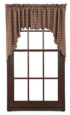 Prescott Swag Set Lined Primitive Brown Creme Tan Plaid Rustic Cabin Window NEW ()