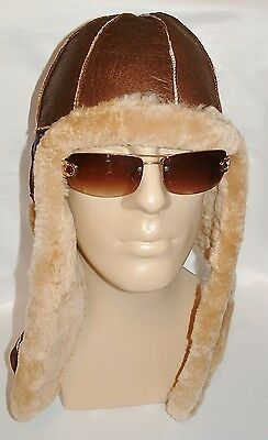 NEW! mens Sheepskin Bomber - Aviator Hat and Scarf by KATZ Real Leather size L