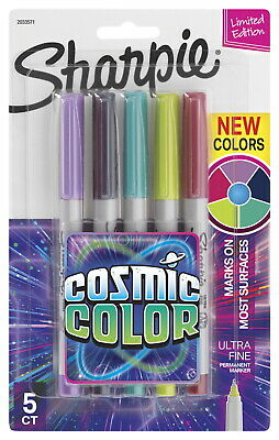 Sharpie Cosmic Color Permanent Markers Ultra Fine Assorted Colors Set Of 5