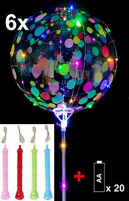 6x Luftballons LED Ballon mit Punkten Leuchtend Helium ∅30cm, auch mit Stab
