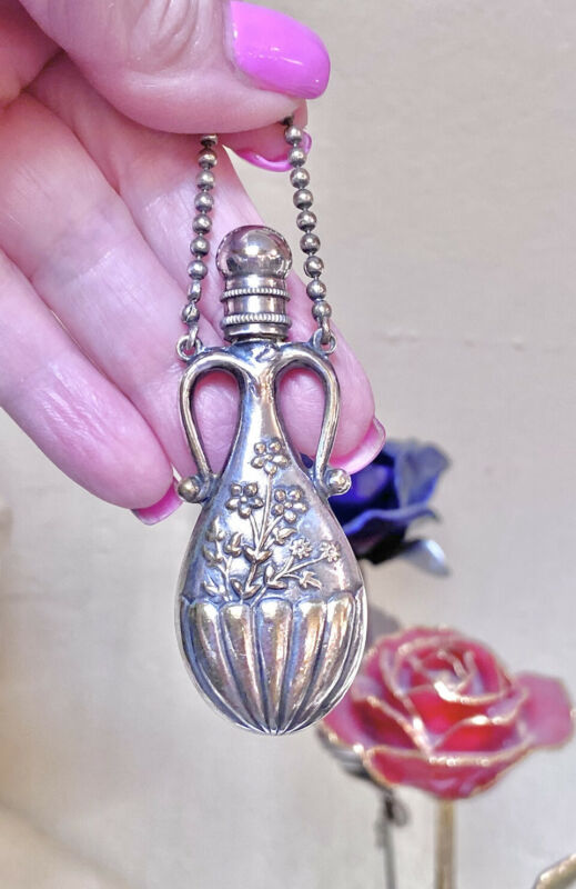 WONDERFUL Authentic Antique Repoussé Silver Metal Chatelaine Scent Bottle