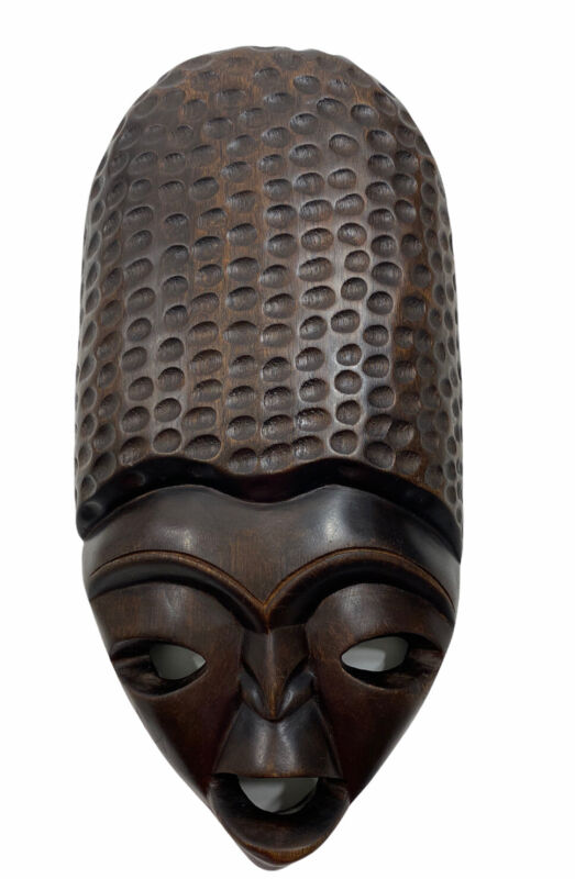 VINTAGE FACE WOOD MASK HAND CARVED TRIBAL WOODEN AFRICAN WALL ART PRIMITIVE