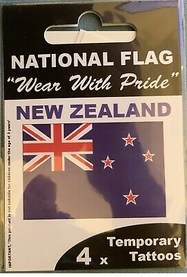 4 x NEW ZEALAND NATIONAL FLAG Temporary Tattoos BUY 2 GET 2 FREE