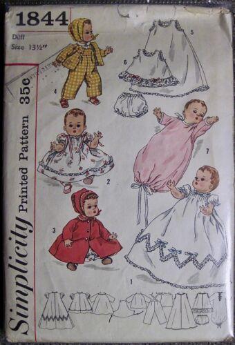 "Vtg UNCUT Simplicity Tiny Tears Style Doll Clothes Pattern #1844 Doll Sz 13 1/2"""
