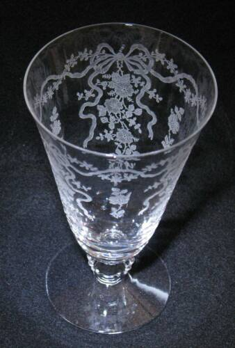 """Fostoria """"Romance""""  FOOTED ICED TEA  6""""  - 12 oz   Etched Bows, Ribbons & Flower"""
