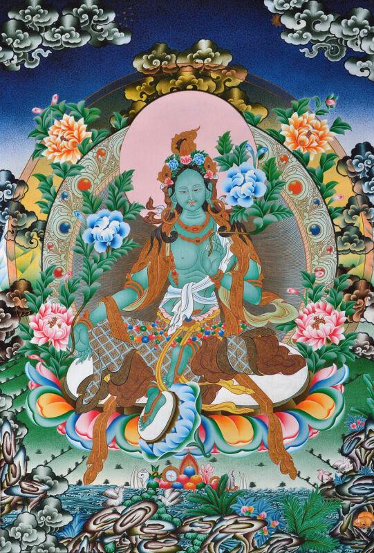 "GREEN TARA ON FOUNTAIN OF FULFILLMENT 32"" BROCADE WOOD SCROLL TIBETAN THANGKA"