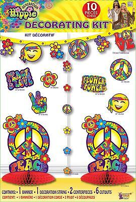 HIPPIE ROOM DECORATING KIT Peace Signs Party Decoration Banner Table - Hippie Centerpieces