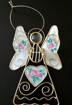 1 Hand Painted Capiz Shell Roses Gold Wire Angel Christmas Ornaments - Heart